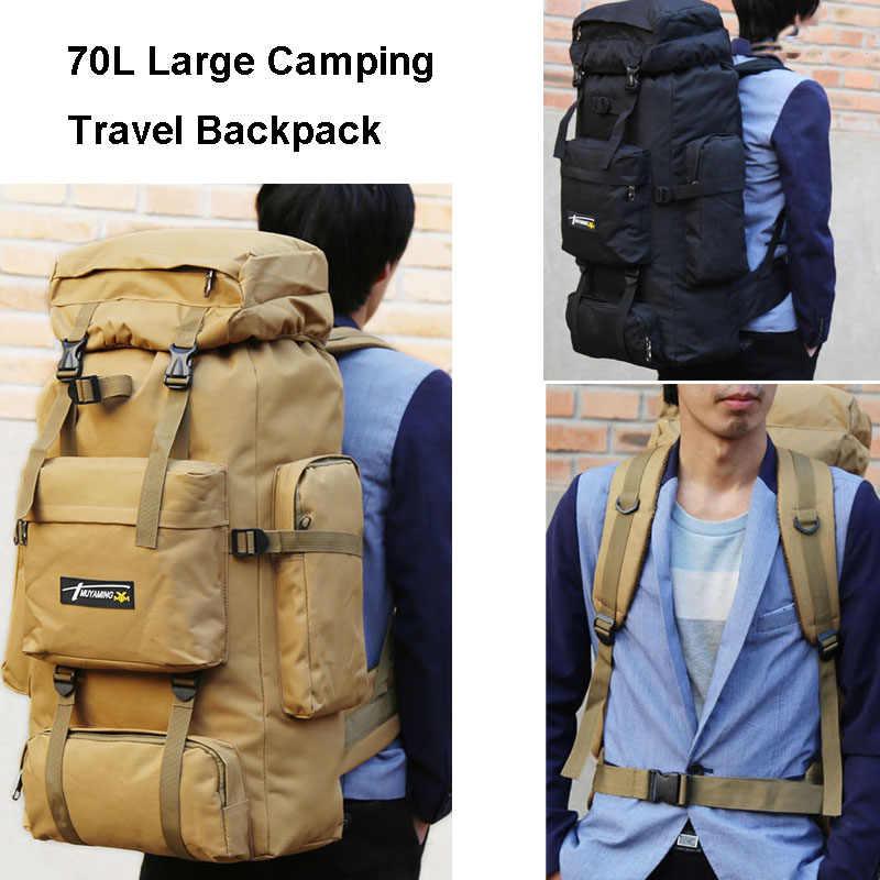 70L Tas Taktis Molle Ransel Militer Gunung Pria Perjalanan Olahraga Luar Ruangan Tas Ransel Hiking Berburu Berkemah Ransel