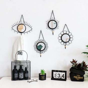 Nordic style Geometric Eye Flower Design Mirror Iron Art Hooks Wall Hanging Handmade Home Decoration Hook For Key Clothes