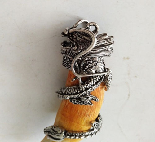Chinese archaize Boars Tooth Wild Hog Silver Wolf protective talisman Pendant
