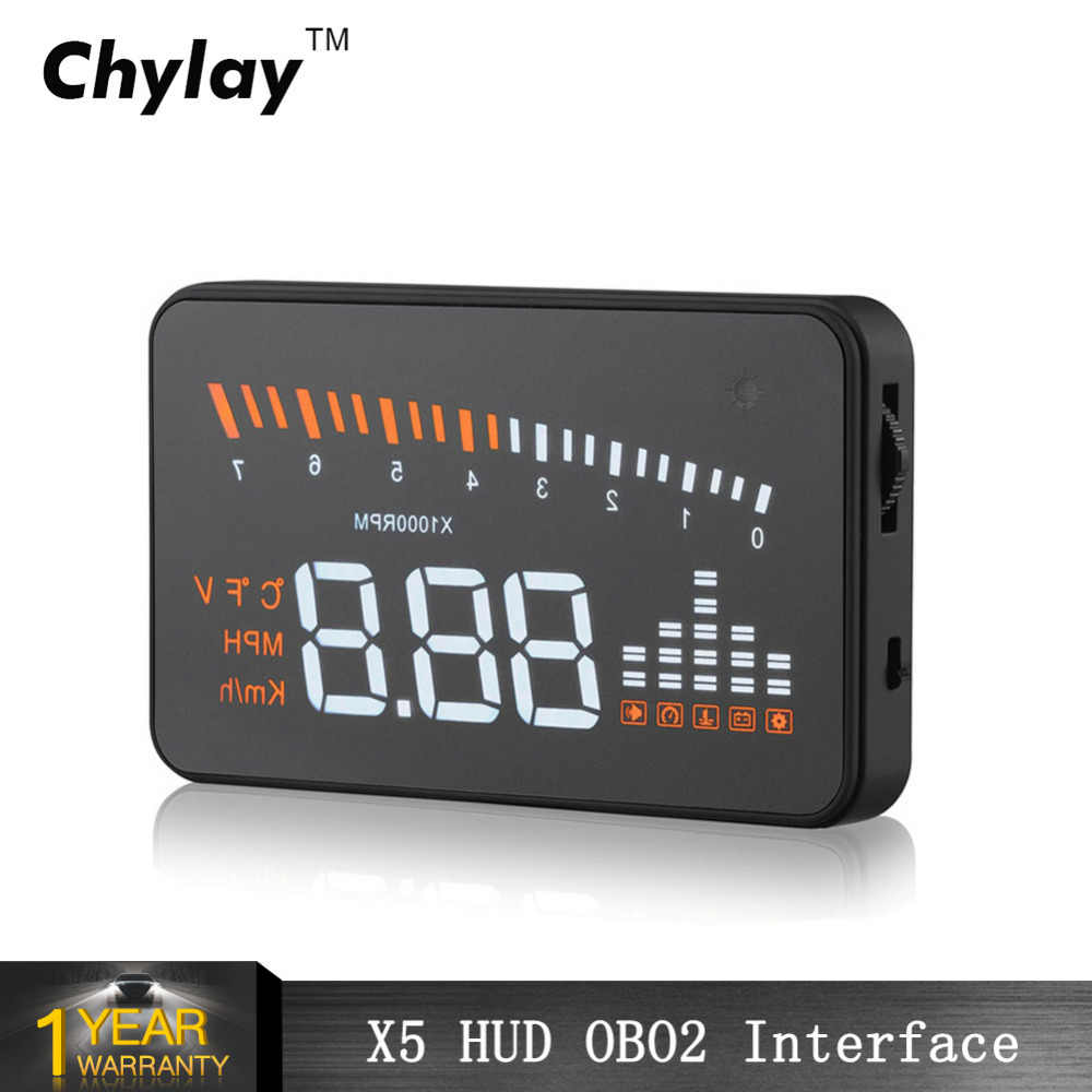 X5 HUD Head Up Display Auto Car Overspeed Alarm Tired Driving Warning Windshield Projector OBD2 Interface