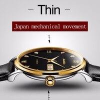 JSDUN Элитный бренд часы Для мужчин Японии механические двигаться Для мужчин t Скелет Водонепроницаемость черный кожаный BusinessCalendar автоматиче