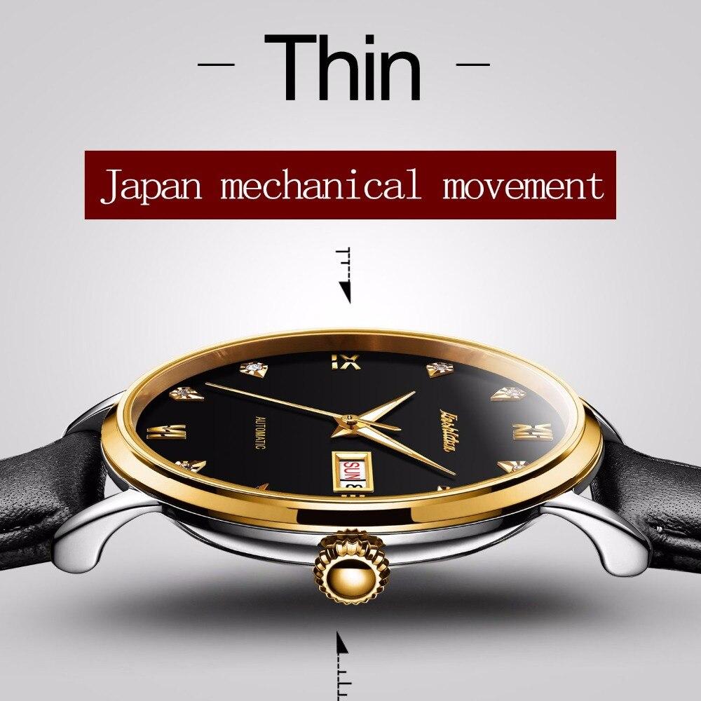 JSDUN Элитный бренд часы Для мужчин Японии механические двигаться Для мужчин t Скелет Водонепроницаемость черный кожаный BusinessCalendar автоматические часы