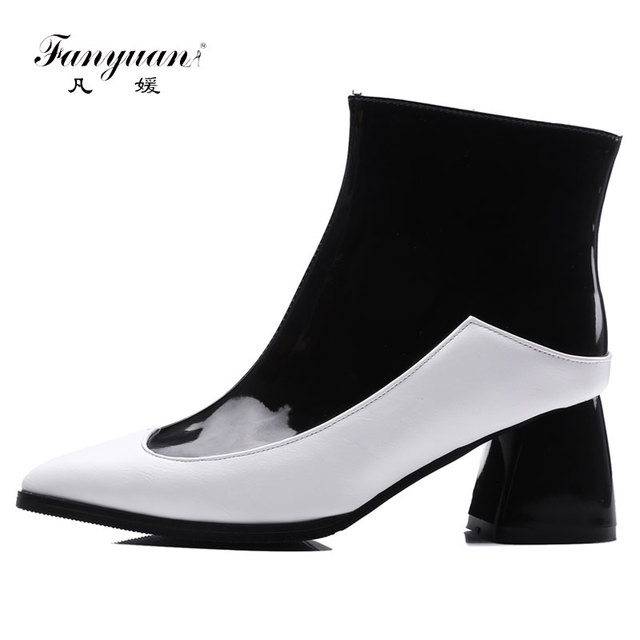 b66194b7632 Fanyuan 2017 Brand Patent Leather Ankle Boots Women Mix color Zipper High  Heels Shoes Woman Pointed toe Colored Boot Female-in Ankle Boots from Shoes  ...