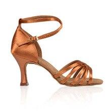 Danse sportive Chaussures BD 211 Femmes Latine Danse Chaussures Foncé Tan Satin À Talons Hauts Chaussures Professionnelles Vache En Cuir