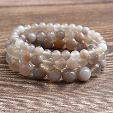 LanLi 4-12mm Fashion natural Jewelry Grey striped onyx beads bracelet be fit for men and women  Accessories amulets
