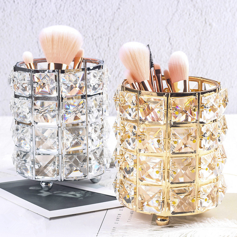 Fashion Women Makeup Brush Tools Holder Bucket Cosmetic Storage Crystal Box Collector Pencil Vase