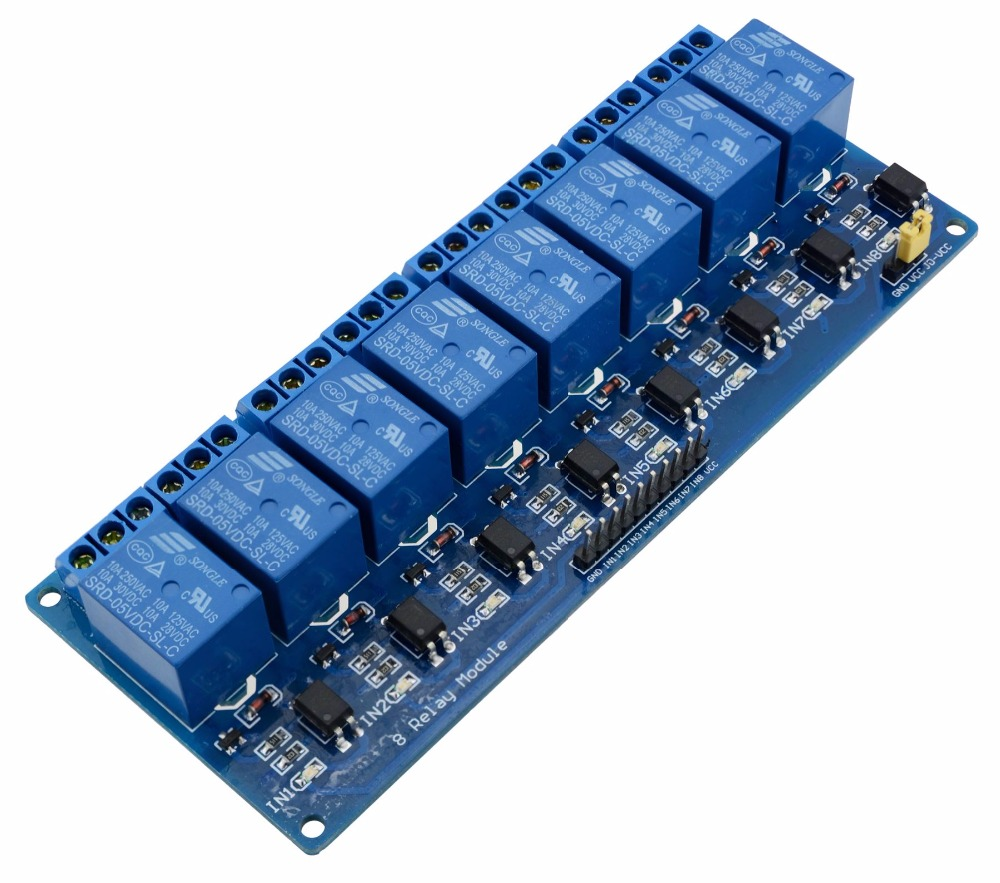 PLC Relay Module For Arduino for Raspberry Pi 8 Channel 8-channel Relays Board Shield 5V PIC AVR DSP ARM Optocoupler Electronics