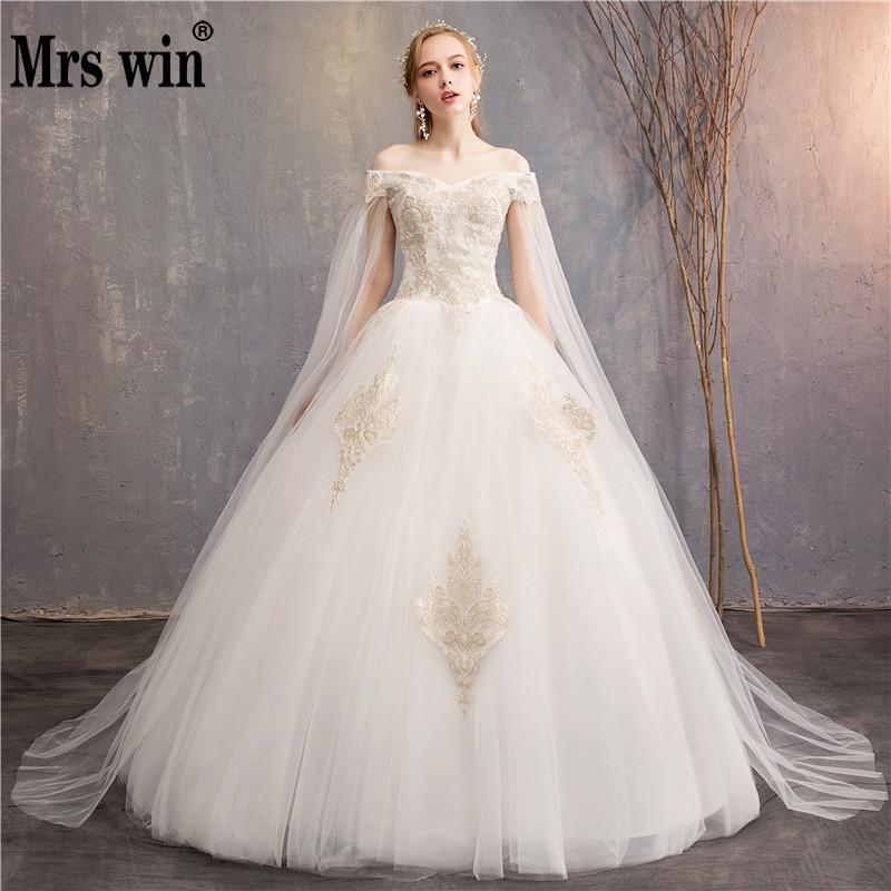 Champagne Lace Embroidery Wedding Dress 2019 New Mrs Win Sexy Off The Shoulder Wedding Gown With Cape Vestido De Noiva F