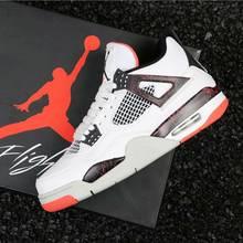 separation shoes 9cc3a efe5f Jordan zapatos de baloncesto Retro zapatos 4S zapatillas de deporte hombres  puro dinero criado NRG gato negro cemento blanco pál.