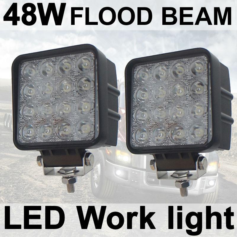 2X 48W Flood Square LED Work font b Light b font Lamp car Truck Vehicle Driving
