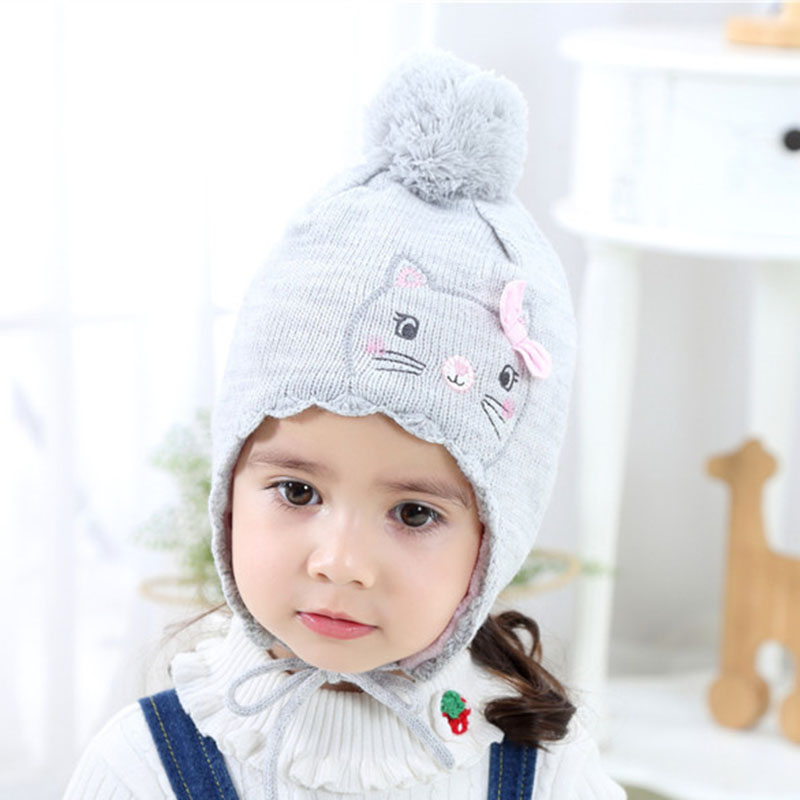Warm Cute Baby girls hat toddler winter hat knit crochet infant baby beanie pompom hat