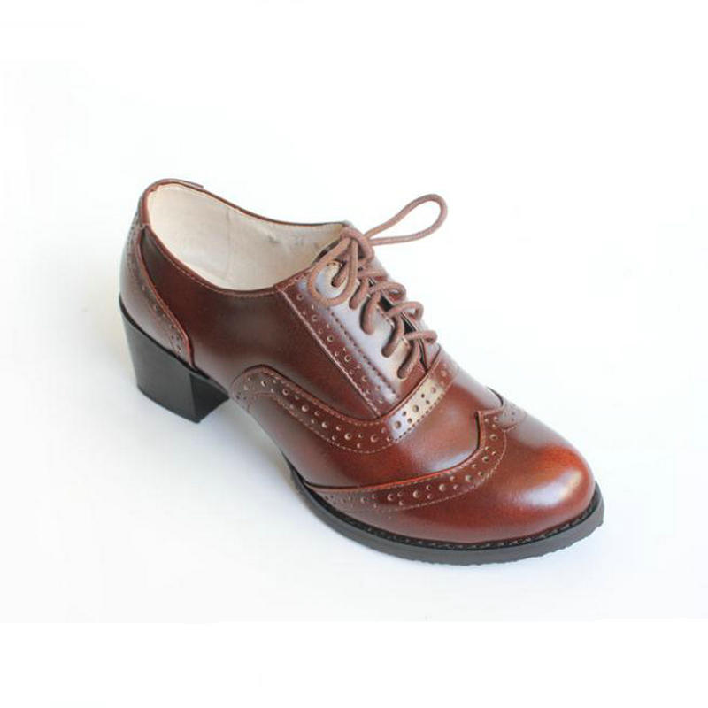 High quality Genuine Leather Thick Heel Women s Shoes Brown Black Oxford Shoes For Women Vintag