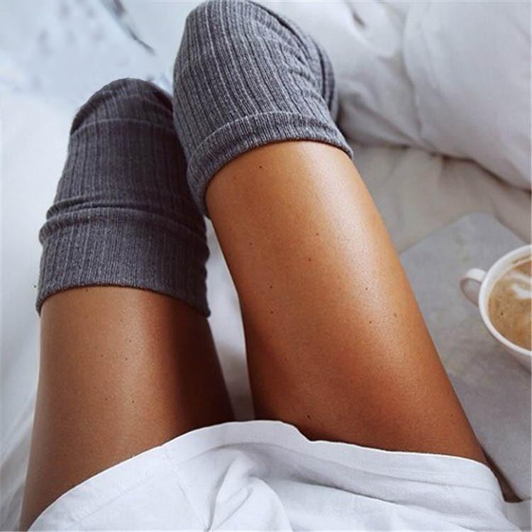 Stoking 6 Warna Fashion wanita Stoking Seksi Paha Hangat Tinggi Di Atas Lutut Kaus Kaki Katun Panjang Gadis Wanita Wanita