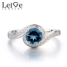 Leige Jewelry London Blue Topaz Ring Promise Ring November Birthstone Round Cut Blue Gemstone 925 Sterling Silver Ring Gifts