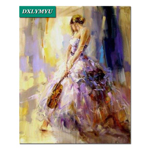 NEW Full Diamond Painting Embroidery violinist Cross Stitch People Square Mosaic Pictures of Rhinestones