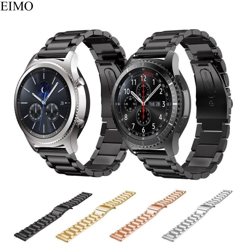 EIMO Watch Strap for Samsung Gear S3 Frontier/Classic Band 22mm Stainless Steel Link Bracelet Gear S 3 Smartwatch Accessories 22mm replacement strap for samsung gear s3 classic watch band sport silicone bracelet strap for samsung gear s3 frontier band
