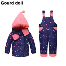 Baby girls boys winter down clothes set Suitable 10-24 months kids Cute diy snow wear thicken down jacket+overalls two pcs suit