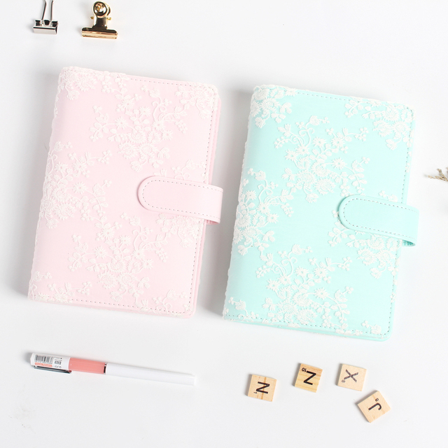 creative cute lace design leather spiral notebook stationeryperson diary planner binderagenda time