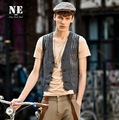 EARL JOEL high quality 2015 summer men 100% cotton slim grey young man casual young man retro casual fashion man suits vests xl