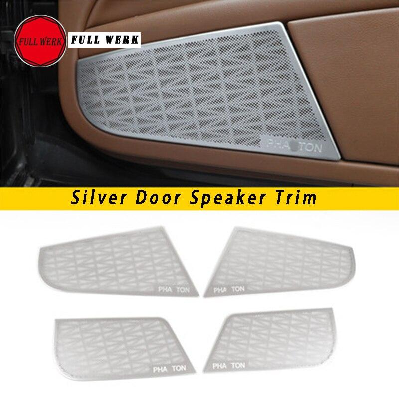 Set of Car Styling Door Speaker Trim Cover Cap Stainless Steel Sticker Protector Decoration for Volkswagen