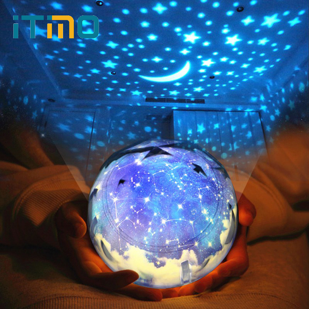 ITimo USB Lamp For Baby Children Universe Starry Star Moon Rotation Projector LED Night Light Novelty Lamp Birthday Gift Magic led night light ocean wave projector starry sky aurora star light lamp luminaria baby nightlight gift battery powered led lights