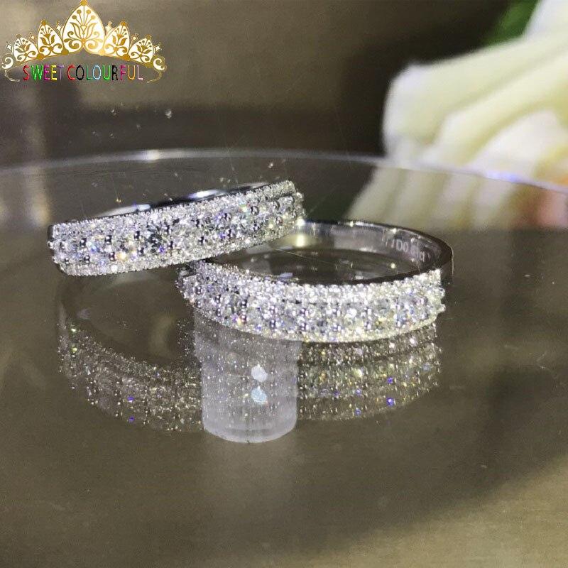 Bague de mariage en diamant Moissanite 100% véritable 18K 750 or blanc D couleur VVS MO-006