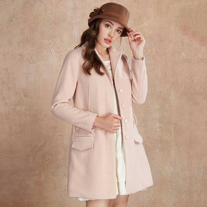 CLEARANCE ARTKA Winter Women Solid Turn down Collar Belt Decoration Elegant Romantic Straight Woolen Coat Female