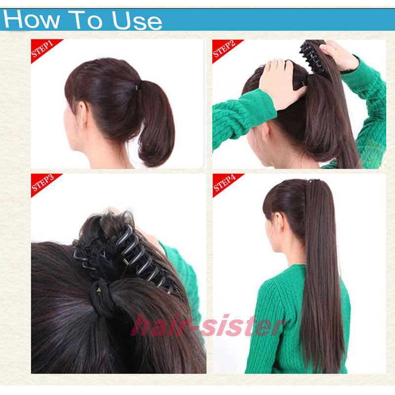 18 Inches Long Ponytail Clip Inl Hair Extensions Claw On Synthetic