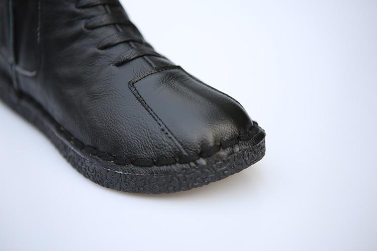black Huifengazurrcs pur White À Pour La Et LaineLe Filles3 De Beige En Main Tricot Chaussures Couture Art Mori Couleurs BottesCuir Rétro Véritable ExrdCoeWQB