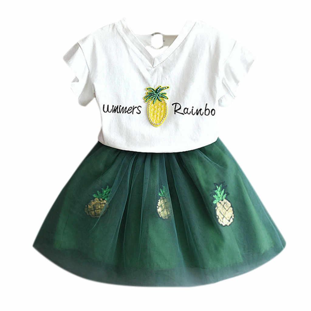 Комплект для маленьких девочек; летняя модная детская одежда с буквенным принтом для девочек; одежда с короткими рукавами + короткая юбка; комплект одежды для малышей