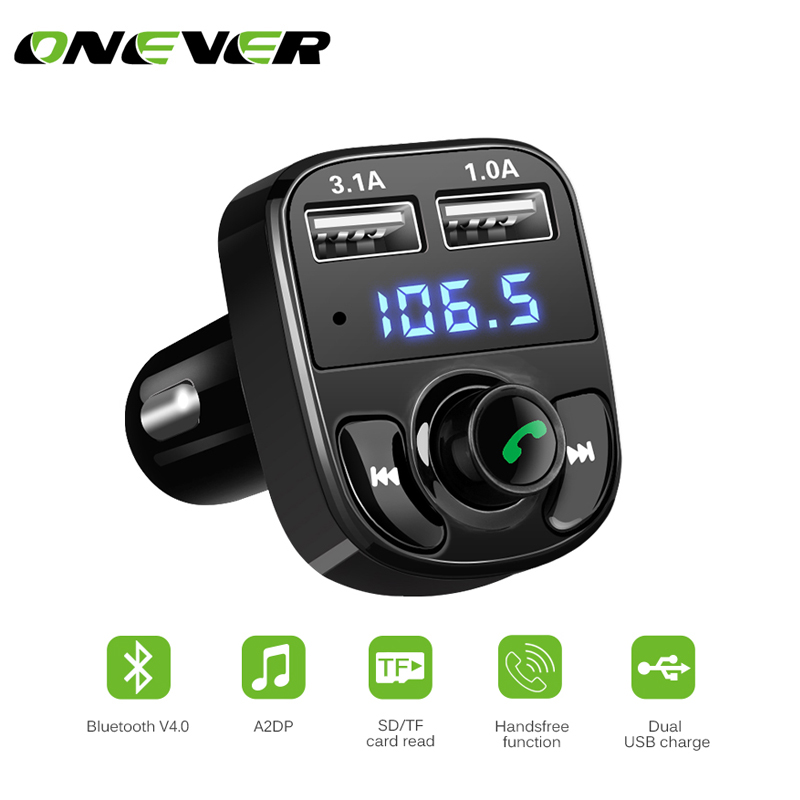 Qii lu 2.1A Fast Charge Dual USB Car Charger A2DP Hands-free MP3 Music Player BT MP3 Player Car Kit