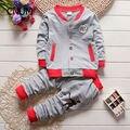 2016 Conjuntos de Roupas de Outono nova moda bebê meninos treino definido para o natal de manga longa crianças roupas ternos esportes dos meninos terno