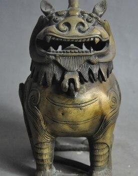 chinese palace bronze evil foo dog lion beast snake statue incense burner Censer
