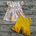 2017 caliente de boutique de niño trajes flora glas traje corto flutter sleeve dress boutique de ropa de impresión