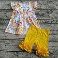 2017 hot criança boutique outfits flora gelo roupa curta flutter sleeve dress boutique roupas de impressão