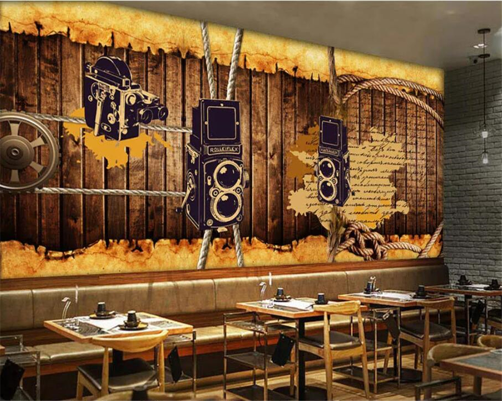 Us 885 41 Offbeibehang Custom Wallpapers 3d Photo Murals Europe And America Retro Nostalgia Wooden Rope Bar Coffee Shop Background Wall Paper In