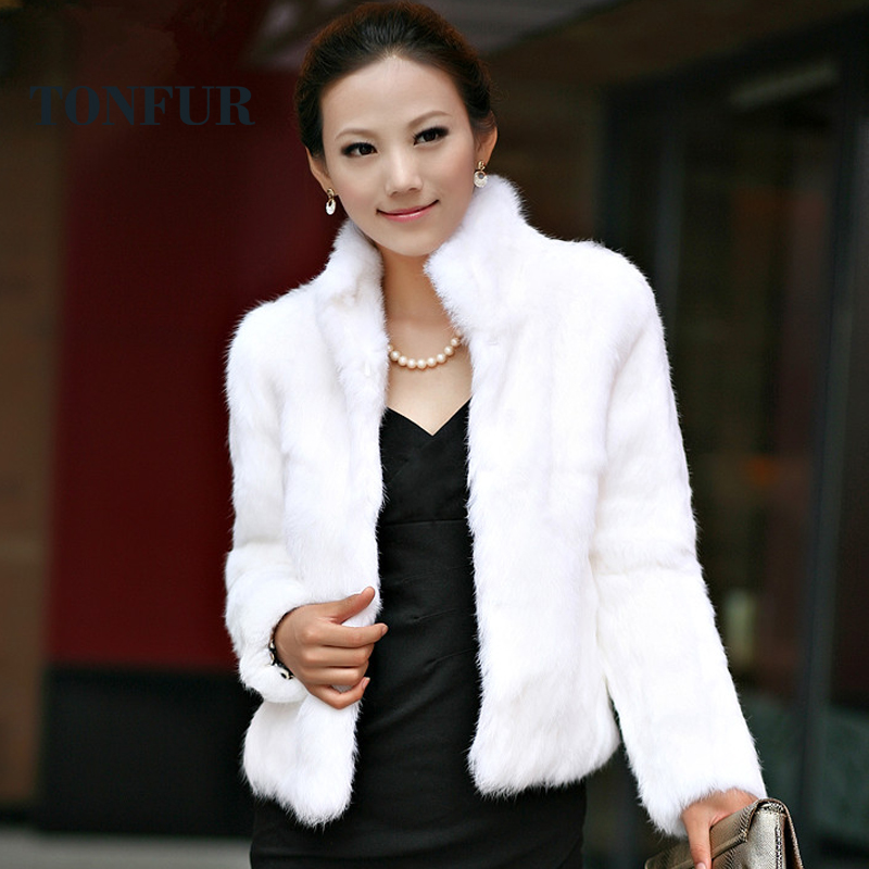 2019 New Genuine Rabbit Fur Coat Women Full Pelt Rabbit Fur Jacket Winter Fur Overcoat Customized Big Size Stand Collar FP267(China)