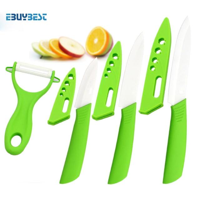 Four Piece Ceramic Knife Set 3 4 5 Inch Peeler Covers Green