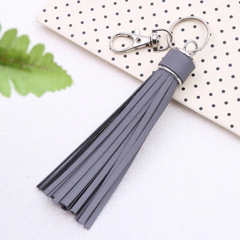 Korean Reflective Fringe PU Leather Tassel,Fur Ball Keychains Key Holder Metal Key Chain Keyring Charm Bag Auto Car Key Ring