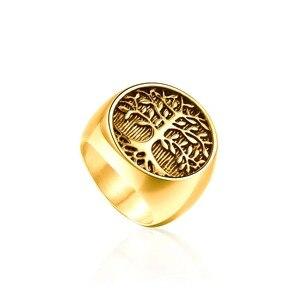 Новое поступление 316L Нержавеющая сталь Серебряное Золотое Древо жизни байкерское кольцо панк-рок хип-хоп мужские ювелирные изделия Рождественский подарок 8-12 # anel