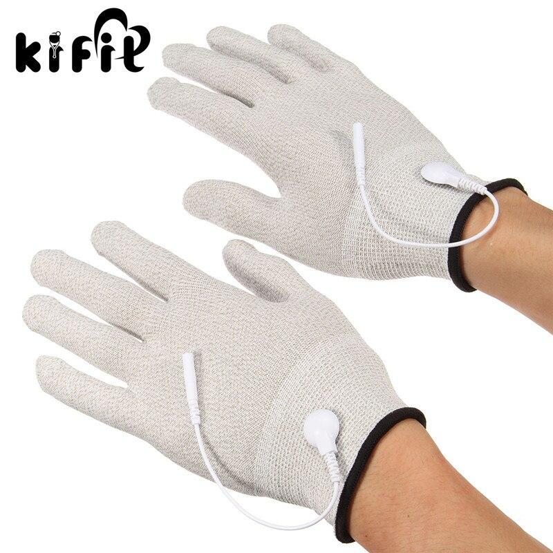 KIFIT 1 זוג עיסוי הרפיה אלקטרודותרפיה עיסוי אלקטרודות כפפות הלם חוט מכונת תרפיה יד מעסה כלי