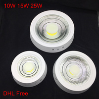 10pcs/lot,DHL Free,10W 15W 25W LED Surface Mounted Ceiling Light LED Down Light Panel Light with driver AC85 265V Indoor light