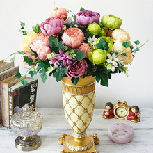 Luxury European Artificial Peony flowers bunch Silk fake Flores Peonies For Home Hotel decor DIY Wedding Party Decoration wreath