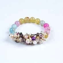 JIUDUO 2017 fashion Charm Bracelet Pearl Jewelry Natural Freshwater Crystal Balls Drop Water For Women P06
