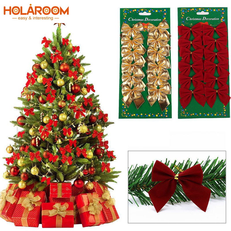 24pcs Xmas Bow New Year Decor Red Gold Silver Christmas Tree Bows Decoration New Year Ornament