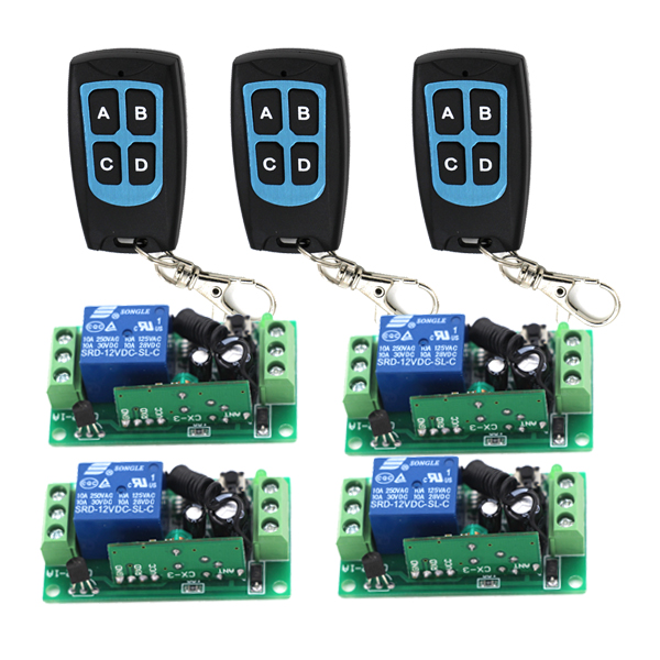 DC12V Wireless Remote Control Switch RF Remote Switch Receiver + Transmitter 315MHZ /433Mhz SKU: 5149 dc12v rf wireless switch wireless remote control system1transmitter 6receiver10a 1ch toggle momentary latched learning code