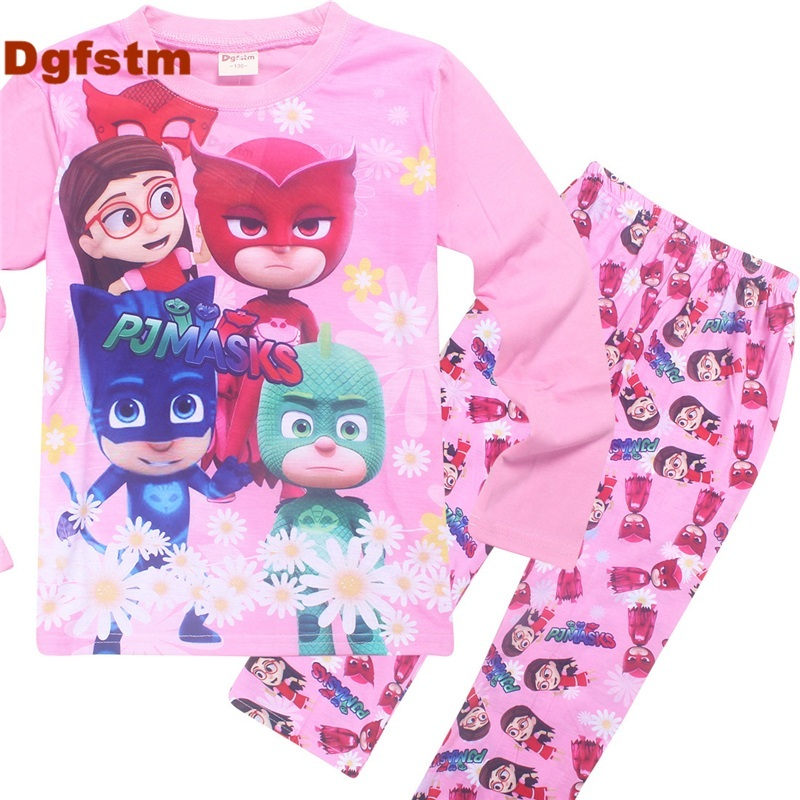 DGFSTM PJMASKS Girls Clothing Spring&Autumn Kids Clothes Baby Girls Clothing Set Pink Long Sleeve Cute Cat Baby Outfits for Girl 2017 new style spring autumn hoodie baby girl clothing set sequin lace long sleeve velour sports jacket long trousers outfits