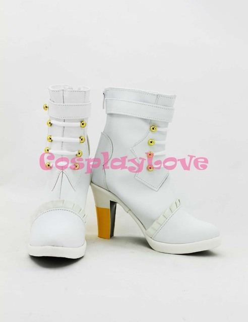 Custom-made Macross Frontier Sheryl Nome Wedding White Cosplay Shoes Boots  Hand Made For Halloween