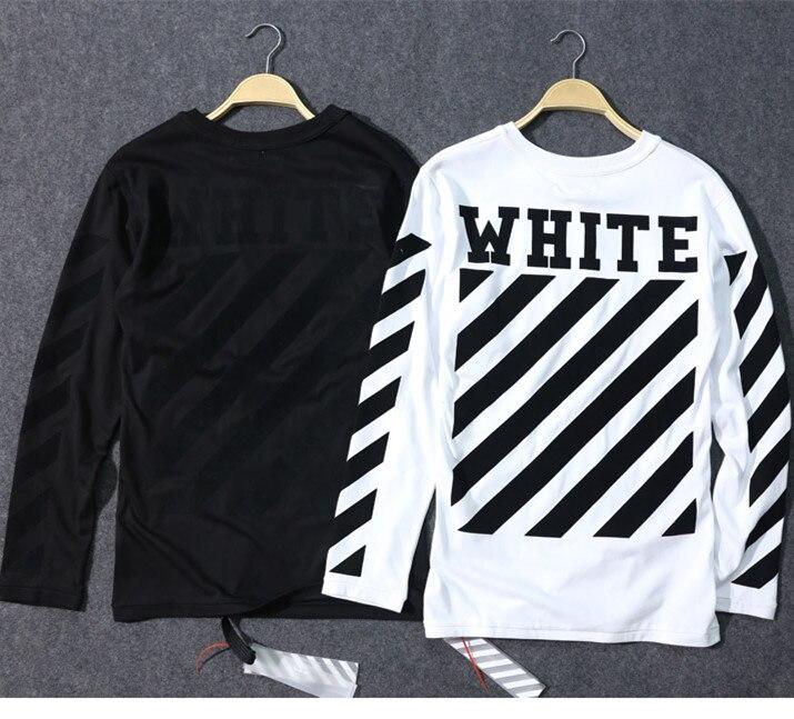 2016 autunm brand new off white VIRGIL ABLOH pyrex Graffiti striped long sleeve t shirt men