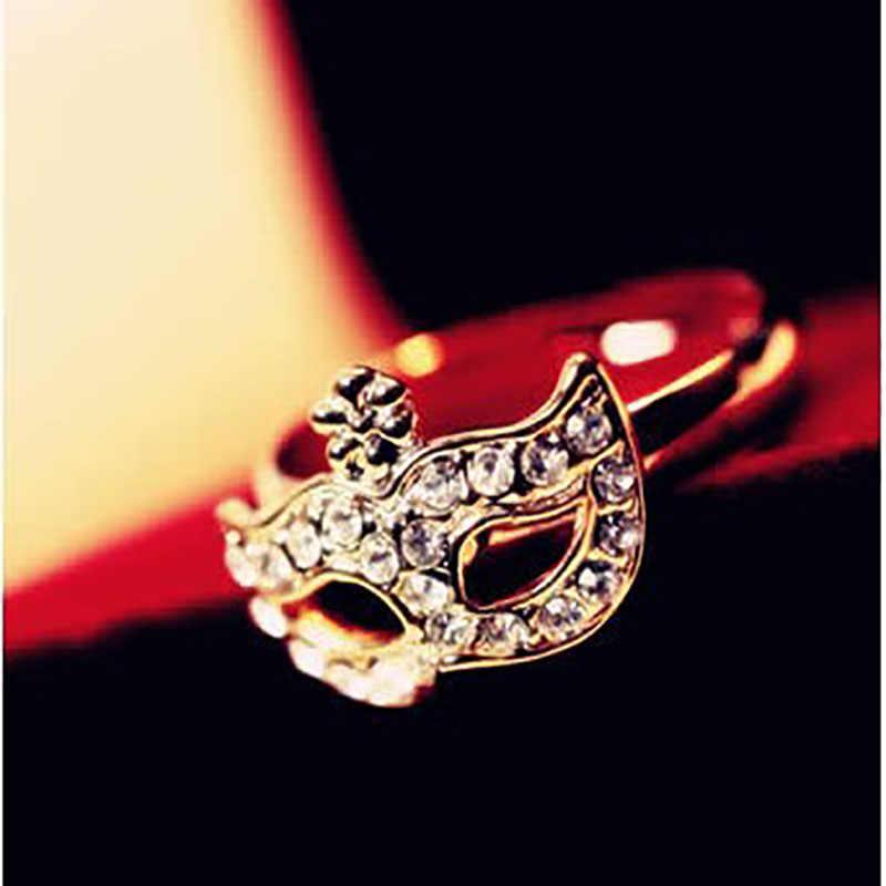 ทองเงินชุบคริสตัลเต็มหน้ากากแหวนสำหรับผู้หญิงสาวBoheminแฟชั่นCubic Z Irconia R Hinestoneดอกไม้แหวนK Nuckleเครื่องประดับ